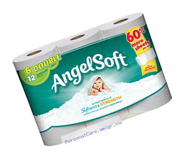 Angel Soft Toilet Paper, Bath Tissue, 6 Double Rolls